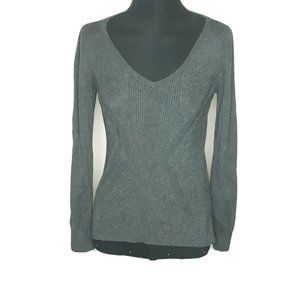 WHBM  Women's V Neck Gray  Long Sleeve Swe…
